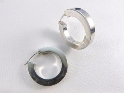 Boucles d'oreilles en or gris 18k (750 millièmes)...