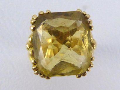 Bague chevalière en or jaune 18k (750 millièmes)...