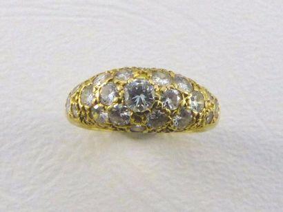 Bague dôme en or jaune 18k (750 millèmes)...