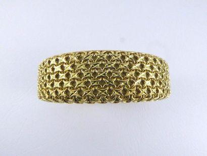 Bracelet à maille tressée en or jaune 18k...