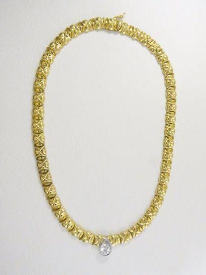 Collier tour de cou deux tons d'or 18k (750...