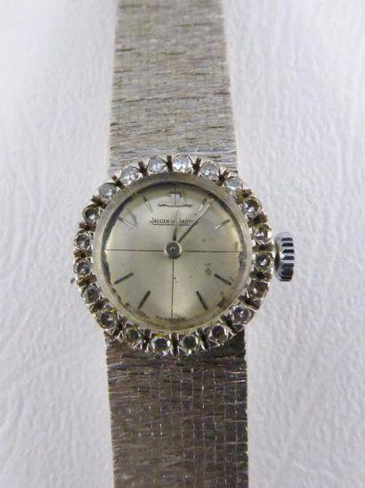 Montre dame JAEGER LECOULTRE en or gris 18k (750 millièmes), bracelet rigide amati,...