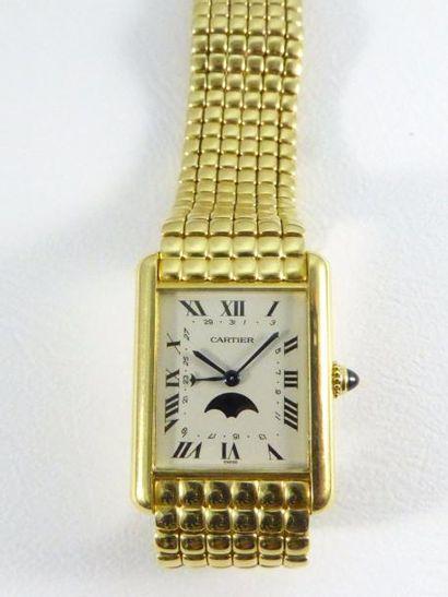 """Montre CARTIER modèle """"Tank Louis Cartier"""" en or jaune 18k (750 millièmes) sur bracelet..."""
