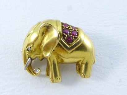Broche éléphant en or jaune 18k (750 millièmes)...