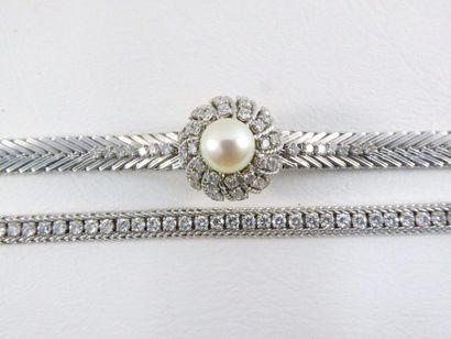 Ensemble en or gris 18k (750 millièmes) composé d'une montre Lip et d'un beau bracelet....