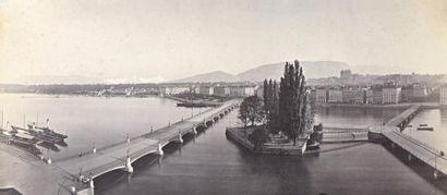 """Adolphe BRAUN (1811-1877)  -""""Bâle"""", c. 1860  -""""Genève"""", c. 1860  2 tirages albuminés..."""