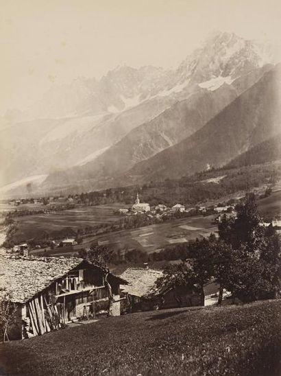 """Charles SOULIER (1840-1875)  """"Les Houches et l'Aiguille du Midi, Vallée de Chamonix,..."""