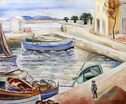 *Moise KISLING (Cracovie 1891- Sanary sur mer 1953)  Sanary, 1919  Huile sur toile...