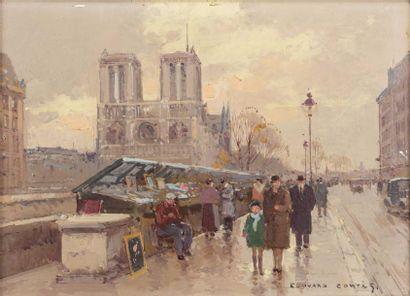 Edouard CORTES (Lagny sur Marne 1882 - 1969)  Notre Dame de Paris, et les bouquinistes...