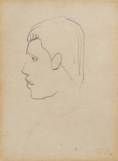 Paul GAUGUIN (Paris 1848 - Atuona 1903)  Tête de Tahitien  Crayon  15 x 11 cm à...