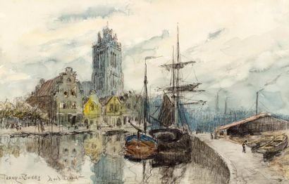 Frank BOGGS (Springfield 1855 - Meudon 1926)  Dordrecht  Aquarelle  26 x 40 cm à...