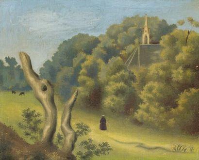 Jean HUGO (Paris 1894 - 1984)  Paysage à l'église  Huile sur toile d'origine  33...
