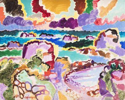 Charles LAPICQUE (Theizé 1898 - Orsay 1988)  L'orage sur Bréhât  Huile sur toile...