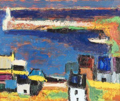 Pierre AMBROGIANI (Ajaccio 1907 - Allauch 1985)  Village breton  Huile sur toile...
