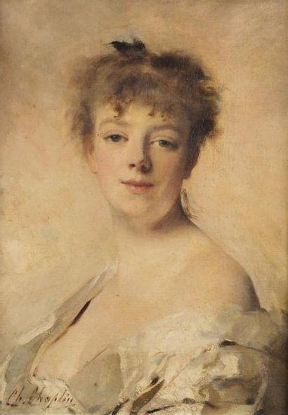 Charles CHAPLIN (Les Andelys 1825- Paris 1891)  Portrait de femme  Huile sur toile...