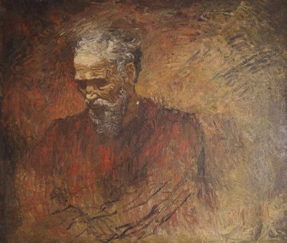 Lucien LEVY-DHURMER (Alger 1865 - 1953)  L'homme au nez cassé / Portait de Michel...