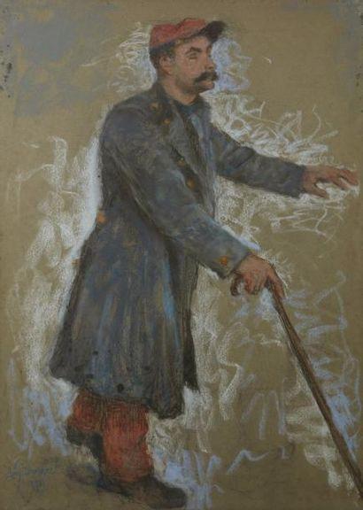 Lucien LEVY-DHURMER (Alger 1865 - 1953)  Le soldat aveugle  Pastel  85 x 61 cm à...