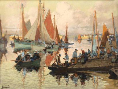 Mathurin JANSSAUD (Manosque 1857-1940)  L'arrivée au port  Pastel sur papier  49...