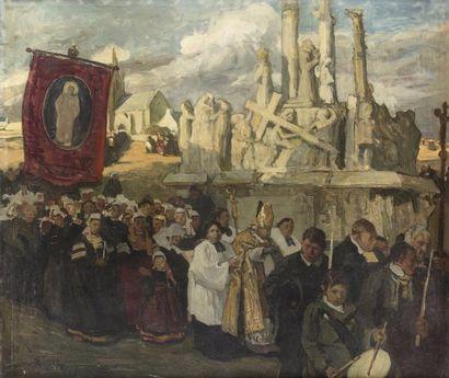 Lucien SIMON (Paris 1861 - Combrit 1945) Procession à la chapelle Notre-Dame-de-Tronoen...