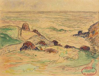 Henry MORET (Cherbourg 1856 - Paris 1913)  Gros temps sur la côte  Aquarelle sur...