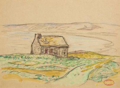 Henry MORET (Cherbourg 1856 - Paris 1913)  Maison de douanier au bord de la côte...