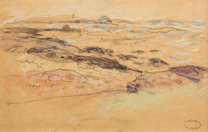 Henry MORET (Cherbourg 1856 - Paris 1913)  Mer houleuse sur les récifs  Aquarelle...