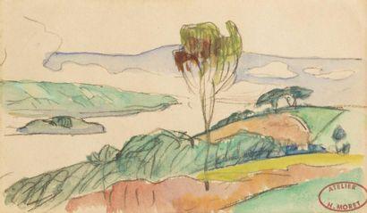 Henry MORET (Cherbourg 1856 - Paris 1913)  Paysage à la rivière  Aquarelle sur trait...