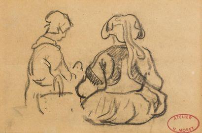 Henry MORET (Cherbourg 1856 - Paris 1913)  Deux bretonnes de dos  Fusain  11,5 x...