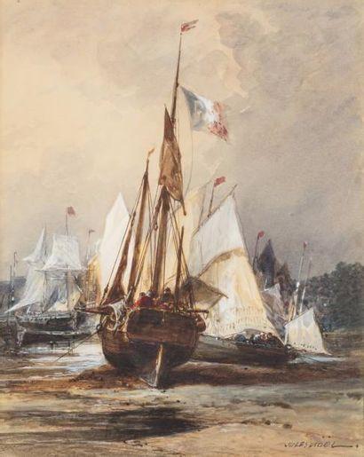 Jules NOEL (Nancy 1810 - Alger1881)  Barques de pêche à marée basse  Aquarelle et...