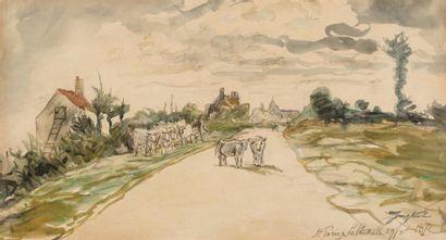 Johan Barthold JONGKIND (Latrop 1819- Saint Egrève 1891)  La route à Saint Parize...