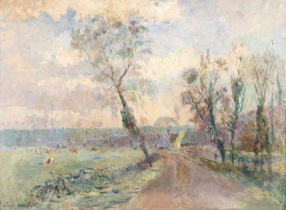 Albert LEBOURG (Montfort-sur-Risle 1849 - Rouen 1928)  Les prairies de Hondouville,...