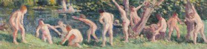 Maximilien LUCE (Paris 1858 - 1941)  Baigneurs,...