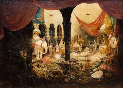 Attribué à Alfred Auguste BACHMANN (Dirschau 1863 - Ambach sur Obb 1956)  La caverne...