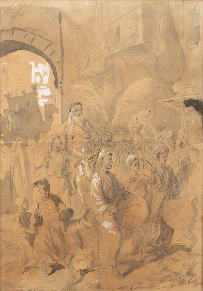 Henri Alfred DARJOU (1832 - 1874)  Le retour d'un pèlerin de La Mecque au Caire...