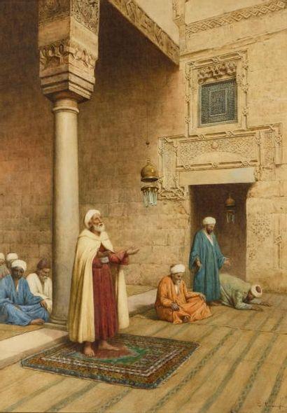 Enrico TARENGHI (Rome 1848 - 1938)  La prière  Aquarelle  74 X 53 cm à la vue  Signé...