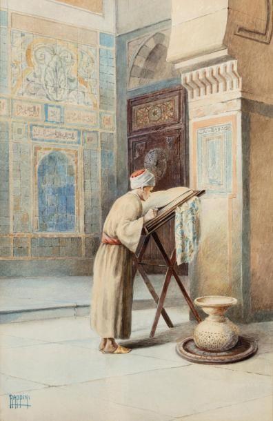Vittorio RAPPINI (1877 - 1939)  La lecture du Coran  Aquarelle sur papier  36 x...