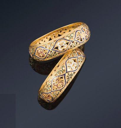Paire de bracelets marocains  bombés, en...