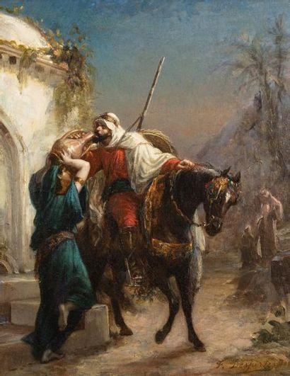 Francisque DESPORTES (1849-1934)  Cavalier à la fontaine  Huile sur toile d'origine...