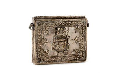 Porte coran ou talisman  en argent repoussé...