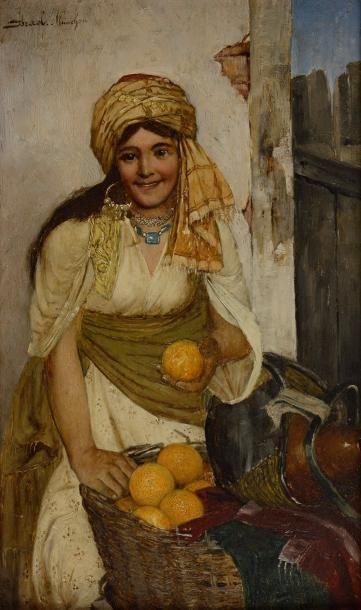 Daniel ISRAEL (Autrichien 1859 - 1901)  La vendeuse d'oranges  Huile sur panneau...