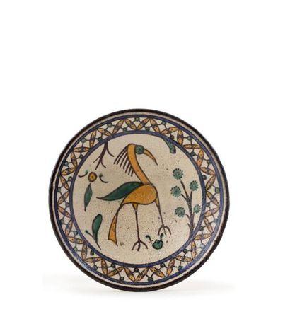 Rare Plat Chemla à l'oiseau  en céramique...