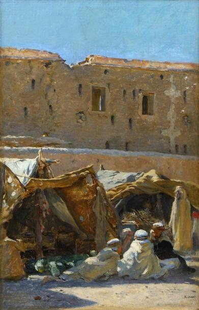 Etiennne DINET (Paris 1861 - 1929)  Le marché de Brezina  Huile sur toile  38,5...