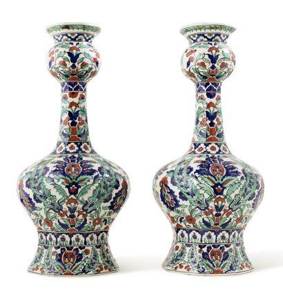 Paire de vases Boch Keramis  de forme balustre,...