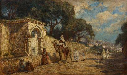 Addison Thomas MILLAR (1860 - 1913)  La halte à la fontaine à Alger  Huile sur toile...