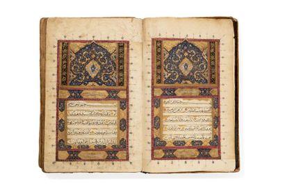 Grand Coran Qajar daté 1285H. = 1868  Manuscrit...