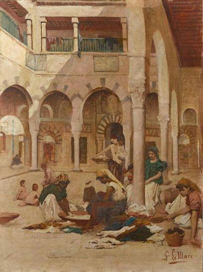 Georges LE MARE (Coutances 1866-Tunis 1 942)  Femmes à l'interieur du riad  Huile...