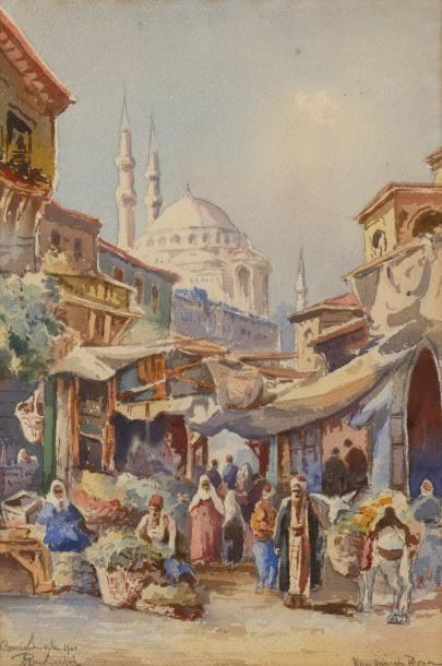 Joseph PAVLEKEVITCH (Actif au XIX ème et XX ème siècle)  L'entrée du bazar à Constantinople...