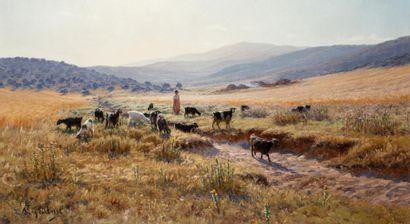 Antoine GADAN (1854 -1934)  Jeune bergère...