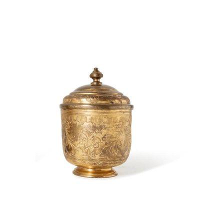 Pot couvert ottoman en tombak  en cuivre...