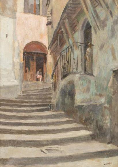 Armand ASSUS (Alger 1892 - Antibes 1977)  Casbah d'Alger  Huile sur toile d'origine...